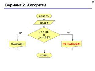 * Вариант 2. Алгоритм начало ввод x 'подходит' да нет x >= 25 и x