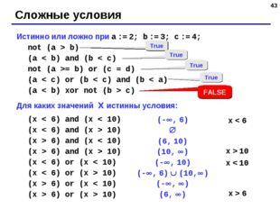 * Истинно или ложно при a := 2; b := 3; c := 4; not (a > b) (a < b) and (b <