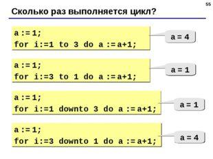 * Сколько раз выполняется цикл? a := 1; for i:=1 to 3 do a := a+1; a = 4 a :=