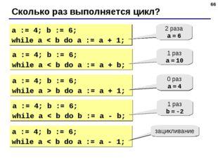 * Сколько раз выполняется цикл? a := 4; b := 6; while a < b do a := a + 1; 2