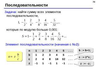* Последовательности Задача: найти сумму всех элементов последовательности, к