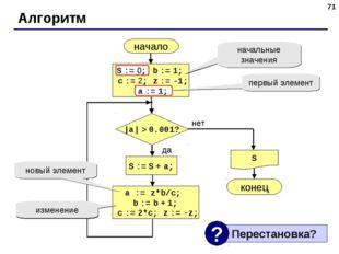 * Алгоритм начало S конец нет да  a  > 0.001? S := S + a; S := 0; b := 1; c :