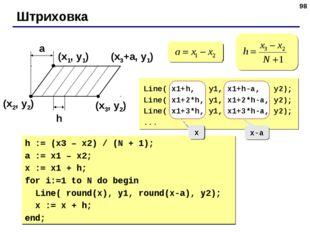 * Штриховка (x1, y1) (x2, y2) (x3, y2) a h (x3+a, y1) Line( x1+h, y1, x1+h-a,