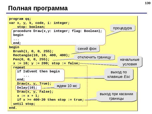 * Полная программа program qq; var x, y, k, code, i: integer; stop: boolean;...