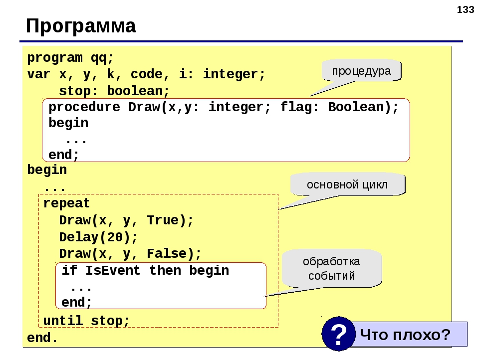 * Программа program qq; var x, y, k, code, i: integer; stop: boolean; begin ....