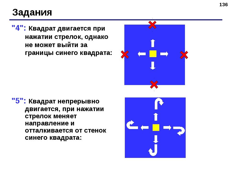 """* """"4"""": Квадрат двигается при нажатии стрелок, однако не может выйти за границ..."""
