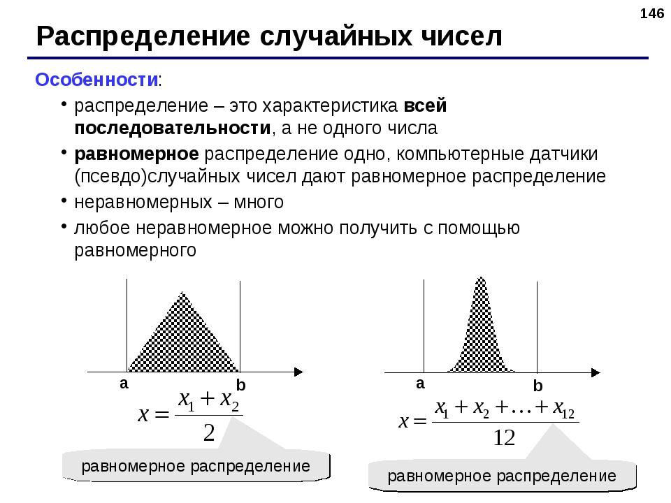 * Распределение случайных чисел Особенности: распределение – это характеристи...