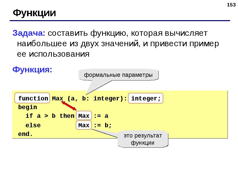 * Функции Задача: составить функцию, которая вычисляет наибольшее из двух зна...