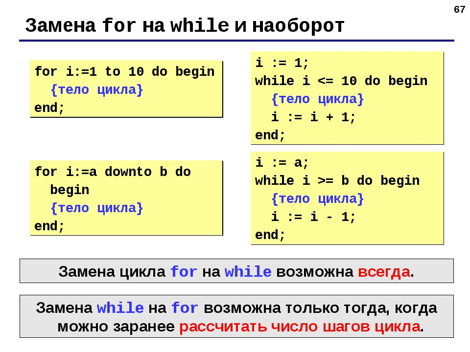 * Замена for на while и наоборот for i:=1 to 10 do begin {тело цикла} end; i...