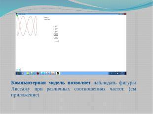 Компьютерная модель позволяет наблюдать фигуры Лиссажу при различных соотноше