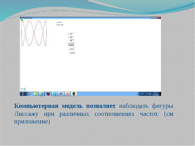 Компьютерная модель позволяет наблюдать фигуры Лиссажу при различных соотноше...