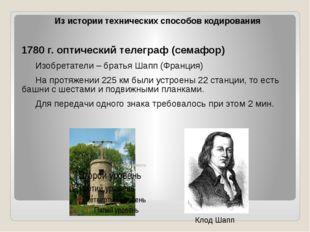 1780 г. оптический телеграф (семафор) Изобретатели – братья Шапп (Франция)