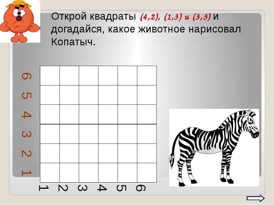Открой квадраты (4,2), (1,3) и (3,3) и догадайся, какое животное нарисовал Ко...