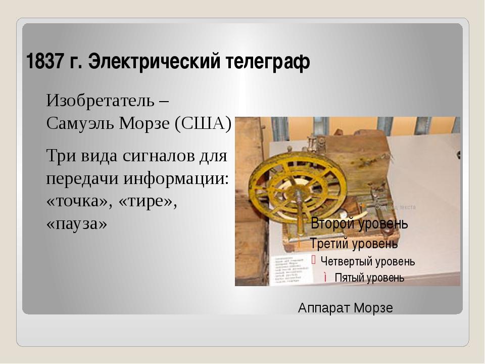1837 г. Электрический телеграф Изобретатель – Самуэль Морзе (США) Три вида си...