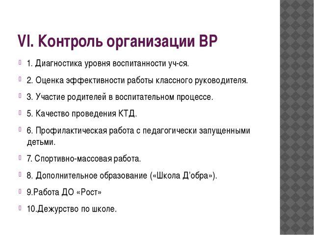 VI. Контроль организации ВР 1. Диагностика уровня воспитанности уч-ся. 2. Оце...