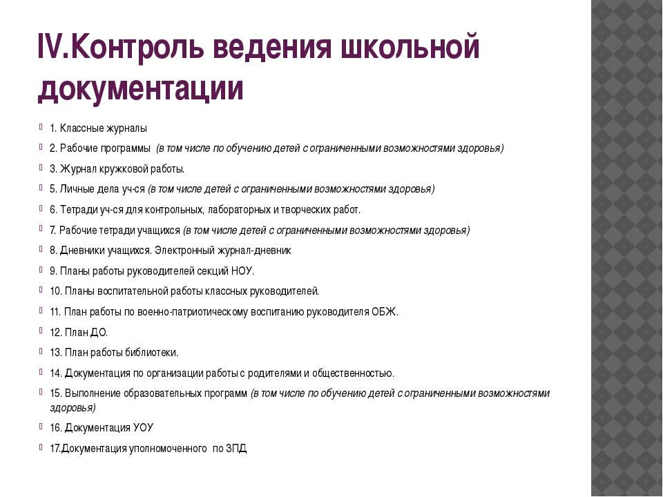 IV.Контроль ведения школьной документации 1. Классные журналы 2. Рабочие прог...