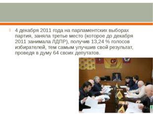 4 декабря 2011 года на парламентских выборах партия, заняла третье место (ко