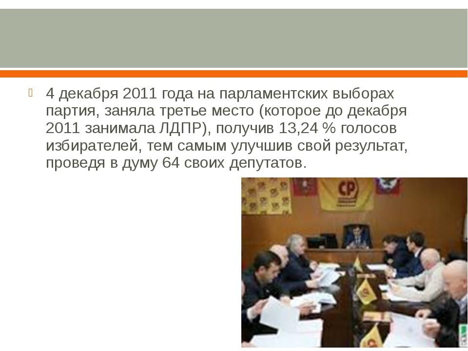 4 декабря 2011 года на парламентских выборах партия, заняла третье место (ко...