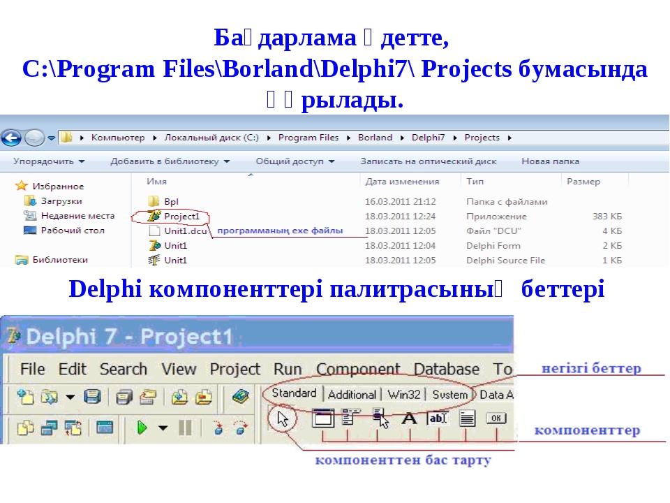 Бағдарлама әдетте, C:\Program Files\Borland\Delphi7\ Projects бумасында құрыл...