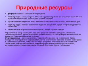 Природные ресурсы фосфориты Вятско- Камского месторождения лесные ресурсы (ле