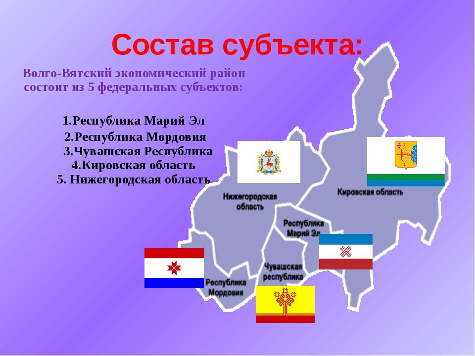 Состав субъекта: Волго-Вятский экономический район состоит из 5 федеральных с...