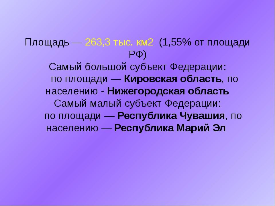 Площадь — 263,3 тыс. км2 (1,55% от площади РФ) Самый большой субъект Федераци...