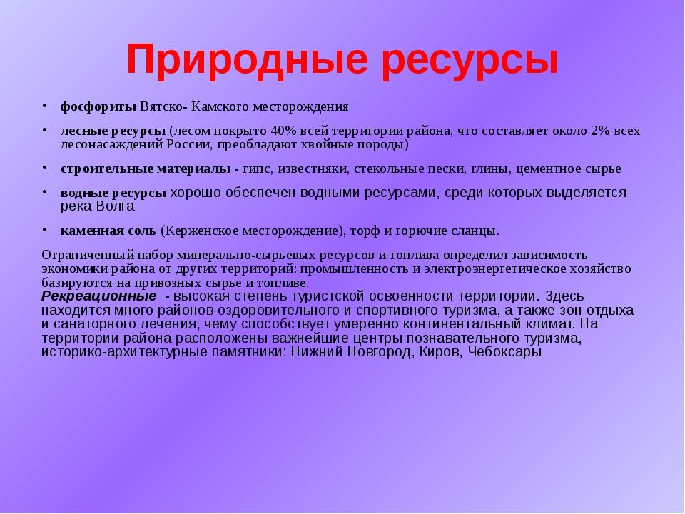 Природные ресурсы фосфориты Вятско- Камского месторождения лесные ресурсы (ле...