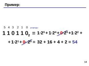 * Пример: 1 1 0 1 1 02 = 5 4 3 2 1 0 разряды 1·25 + 1·24 + 0·23 +1·22 + + 1·2