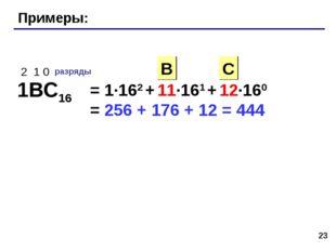 * Примеры: 1BC16 2 1 0 разряды = 1·162 + 11·161 + 12·160 = C В 256 + 176 + 12