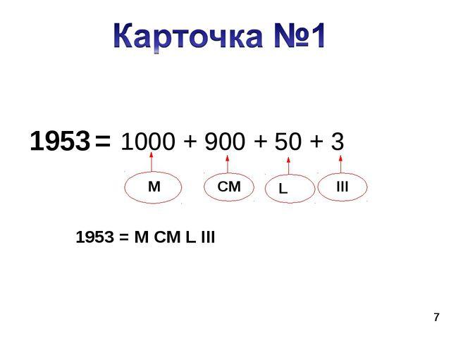 * 1953 = 1953 = M CM L III 1000 + 900 + 50 + 3 M CM L III