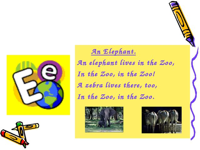 An Elephant. An elephant lives in the Zoo, In the Zoo, in the Zoo! A zebra l...