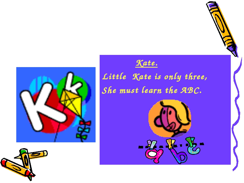 Kate. Little Kate is only three, She must learn the ABC.