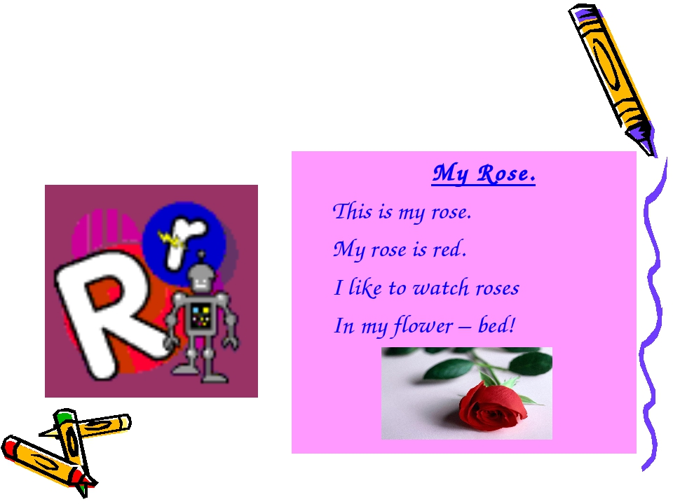 My Rose. This is my rose. My rose is red. I like to watch roses In my flower...