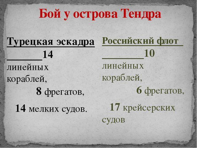 Бой у острова Тендра Турецкая эскадра 14 линейных кораблей, 8 фрегатов, 14 ме...