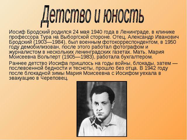 Иосиф Бродский родился 24 мая 1940 года в Ленинграде, в клинике профессора Т...