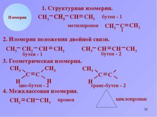 * СН2 СН СН3 Н Изомерия 1. Структурная изомерия. СН2 СН3 С СН2 СН3 С СН2 буте