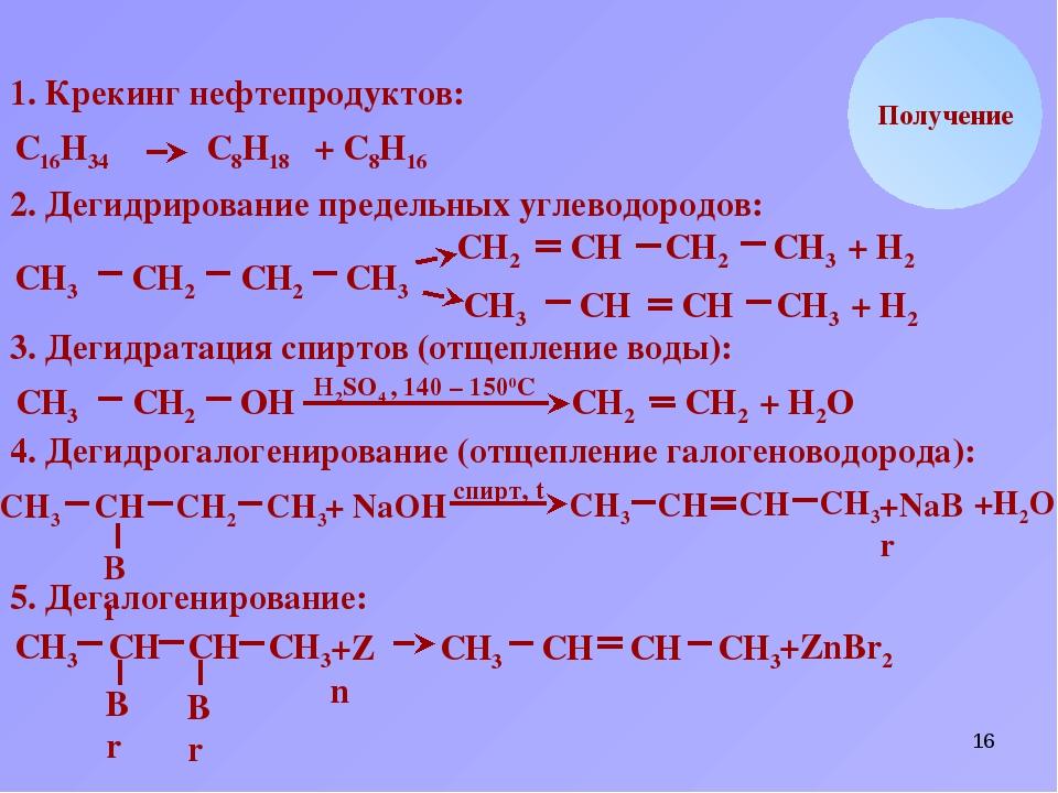 * Br СН2 Получение 1. Крекинг нефтепродуктов: С16Н34 С8Н18 + С8Н16 2. Дегидри...