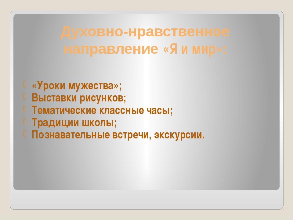 Духовно-нравственное направление «Я и мир»: «Уроки мужества»; Выставки рисунк...