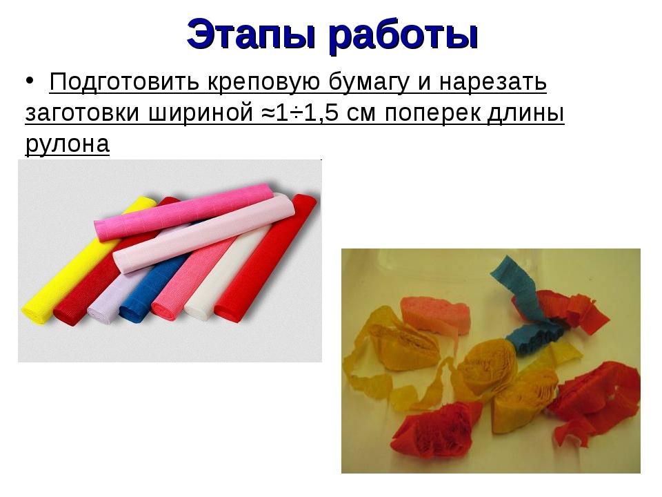 Этапы работы Подготовить креповую бумагу и нарезать заготовки шириной ≈1÷1,5...