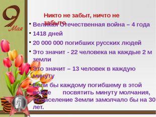 Великая Отечественная война – 4 года 1418 дней 20 000 000 погибших русских л