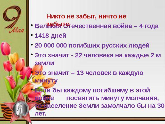 Великая Отечественная война – 4 года 1418 дней 20 000 000 погибших русских л...