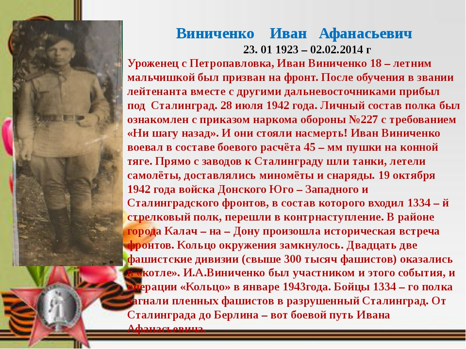 Виниченко Иван Афанасьевич 23. 01 1923 – 02.02.2014 г Уроженец с Петропавлов...