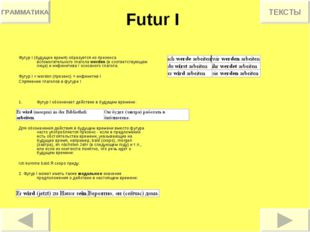 Futur I Футур I (будущее время) образуется из презенса вспомогательного глаго