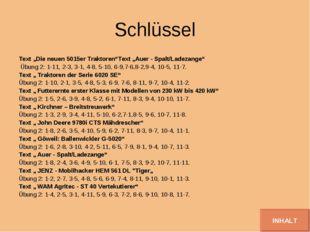 """Schlüssel Text """"Die neuen 5015er Traktoren""""Text """"Auer - Spalt/Ladezange"""" Übun"""