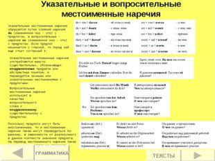 Указательные и вопросительные местоименные наречия Указательные местоименные