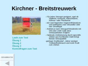 Kirchner - Breitstreuwerk - Für jedes Streugut geeignet, egal ob Stallmist, K