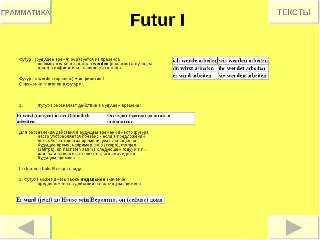 Futur I Футур I (будущее время) образуется из презенса вспомогательного глаго...