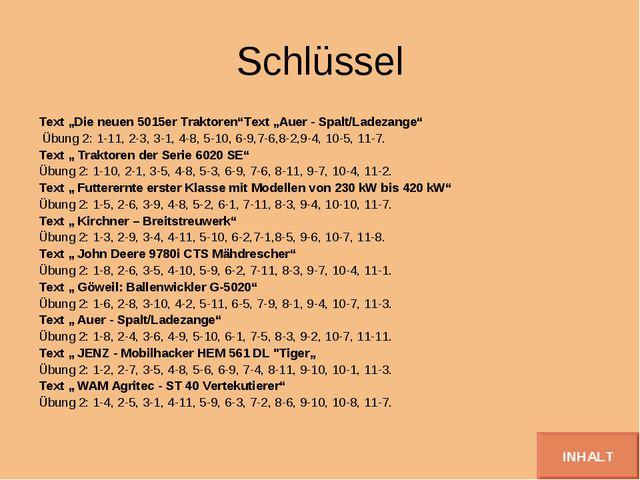 """Schlüssel Text """"Die neuen 5015er Traktoren""""Text """"Auer - Spalt/Ladezange"""" Übun..."""