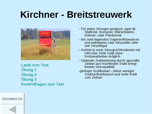 Kirchner - Breitstreuwerk - Für jedes Streugut geeignet, egal ob Stallmist, K...