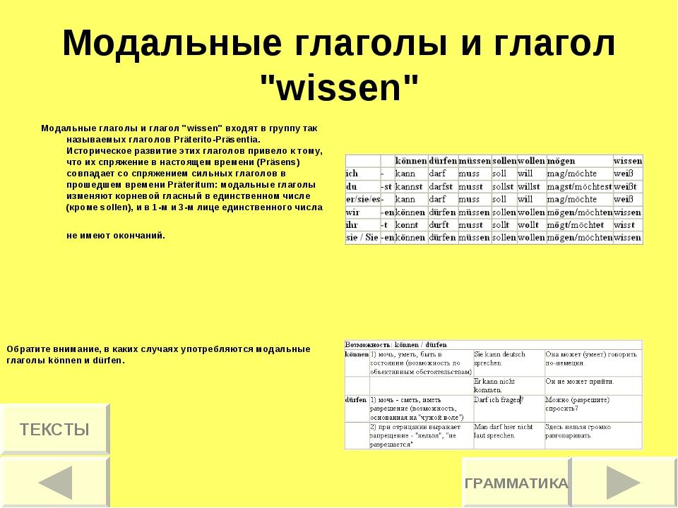 """Модальные глаголы и глагол """"wissen"""" Модальные глаголы и глагол """"wissen"""" входя..."""
